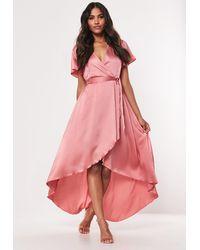 Missguided Blush Satin High Low Wrap Midi Dress - Pink