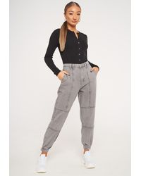 Missguided Gray Cuffed Jogger Jeans