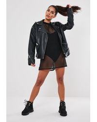 Missguided Black Oversized Fishnet T Shirt Dress