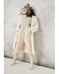 Missguided Faux Fur Double Breasted Collar Coat - White