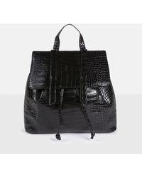 Missguided Mock Croc Backpack - Black