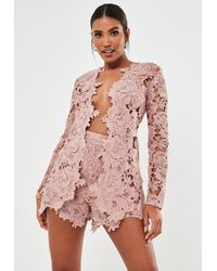 Missguided - Blush Co Ord Crochet Lace Blazer - Lyst