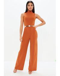 Missguided - Orange High Neck Wide Leg Open Back Jumpsuit - Lyst