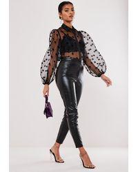 Missguided Faux Leather Biker Detail Pants - Black