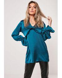 Missguided Teal Satin Mandarin Collar Frill Tunic Top - Blue