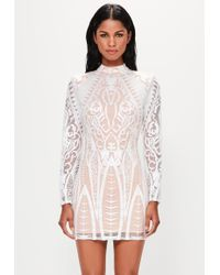 Missguided - Peace + Love White Placed Lace High Neck Mini Dress - Lyst