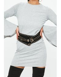Missguided - Black Circular Studded Thick Waist Belt - Lyst