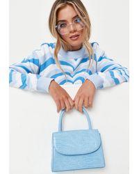 Missguided Blue Mock Croc Top Handle Mini Bag