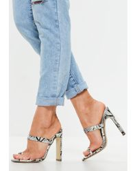 7bd74416861a Missguided - White Snake Print Toe Post Barely There Mules - Lyst