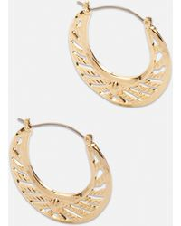 Missguided Look Cut Out Creole Hoop Earrings - Metallic