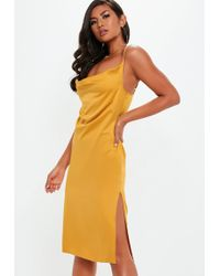 Missguided - Yellow Strappy Cowl Midi Dress - Lyst