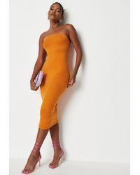 Missguided Basic Bandeau Bodycon Midi Dress - Orange