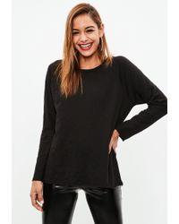 Missguided - Black Long Sleeve Oversized Slub T Shirt - Lyst