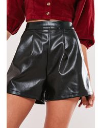 Missguided Tall Black Faux Leather Turn Up Shorts