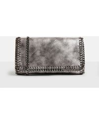 Missguided - Grey Metallic Chain Detail Fold Over Cross Body Bag - Lyst
