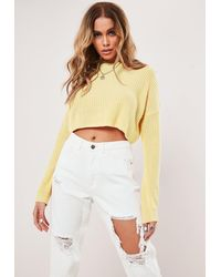 Missguided - Petite Lemon Basic Super Cropped Knit Sweater - Lyst