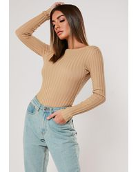 Missguided Camel Rib Scoop Back Bodysuit - Natural