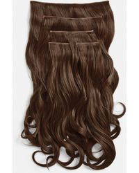 """Missguided Lullabellz 22"""" 5 Piece Blow Dry Wavy Clip In Hair Extensions Chestnut - Brown"""