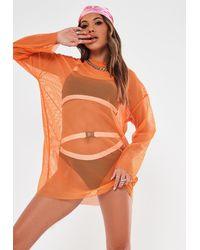 Missguided Oversized Fishnet T Shirt Dress - Orange
