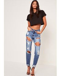 Missguided - Blue Riot High Rise Ripped Jeans - Lyst