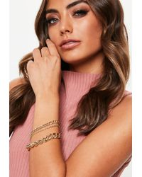 Missguided - Gold Chain Multi Pack Bracelets - Lyst