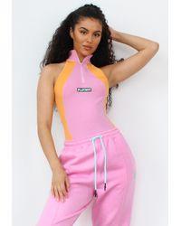 Missguided Playboy X Orange Colorblock Zip Through Bodysuit