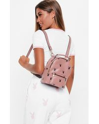 Missguided - Playboy X Mauve Logo Mini Backpack - Lyst