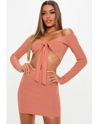 Missguided - Terracotta Mini Skirt And Tie Front Top Co Ord - Lyst