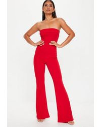 d5ce7385481 Missguided White Bandeau Wide Leg Jumpsuit in White - Lyst