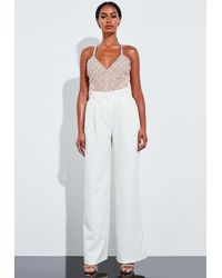 Missguided Nude Embellished Strappy Bodysuit - Multicolour