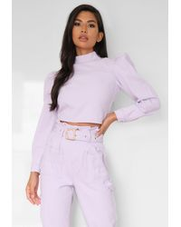 Missguided Co Ord High Neck Puff Sleeve Denim Top - Purple