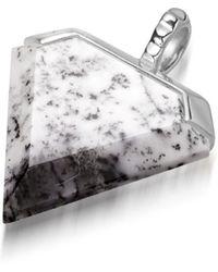 Missoma - Silver Dendiritic Chalcedony Shield Pendant - Lyst