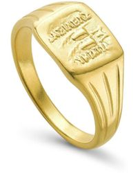 Missoma Lucy Williams Gold Square Coin Signet Ring - Multicolor