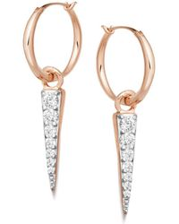 Missoma - Rose Gold Mini Pave Spike Charm Hoops - Lyst
