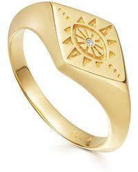 Missoma Gold Evil Eye Signet Ring - Multicolor