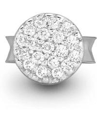 Missoma Silver Single Pave Round Stud - Metallic