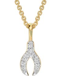 Missoma - Gold Pave Wishbone Charm Necklace - Lyst