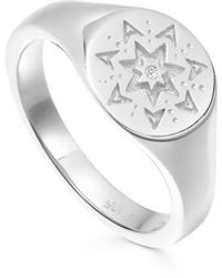 Missoma Silver Star Struck Signet Ring - Metallic