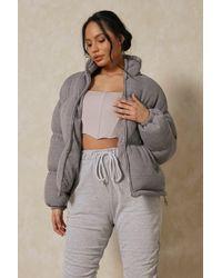 MissPap Soft Ribbed Oversized Puffer Jacket - Grey