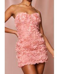 MissPap Organza Ruffle Bandeau Dress - Pink