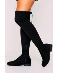 MissPap Tie Back Flat Over The Knee Boots - Black