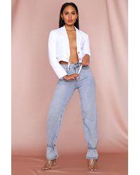 MissPap Button Front Cropped Blazer - White