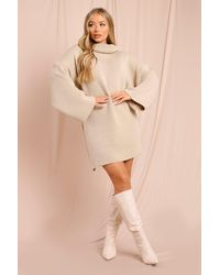 MissPap Oversized Roll/polo Neck Fluted Sleeve Jumper Dress - Natural