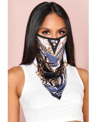 MissPap Chain Print Longline Fashion Face Mask - Black