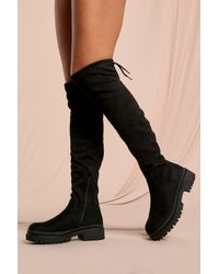 MissPap Faux Suede Over The Knee Chunky Boots - Black
