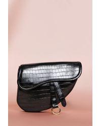 MissPap Leather Look Croc Effect Saddle Bag - Black