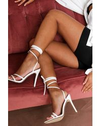 MissPap Strappy Pointed Lace Up High Heels - White
