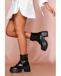 MissPap Patent Chunky Lace Up Ankle Boots - Black