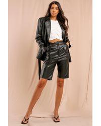 MissPap Missé Leather Look Pleated Bermuda Shorts - Black