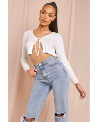 MissPap Tie Detail Ribbed Cropped Cardigan - White
